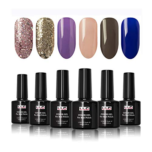 Gel Nail Polish Set 6 Spring Colors ULG Soak Off UV LED Nail Art Manicure Varnish Pure Glitter Series 10ml (Best Nail Varnish Brand)