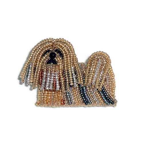 - LHASA APSO beaded dog pin pendant art jewelry (Made to Order)