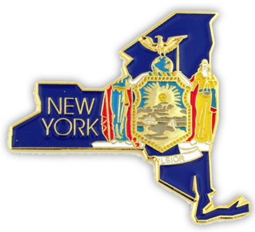 PinMart State Shape of New York and New York Flag Lapel Pin