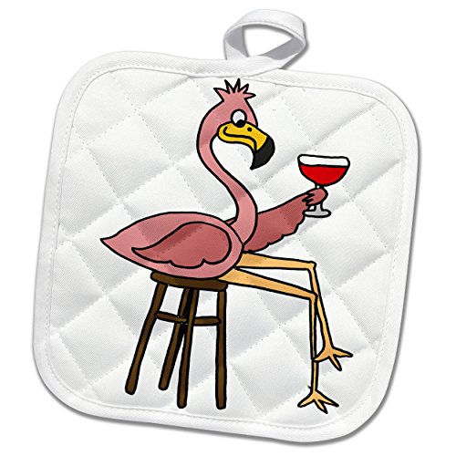 (3D Rose Funny Pink Flamingo On Bar Stool Drinking Red Wine Pot Holder, 8 x 8)