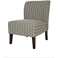 Glitzhome Herringbone Upholstered Accent Chair Gray