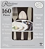 Reflections Silver Plastic Cutlery - 160 Piece