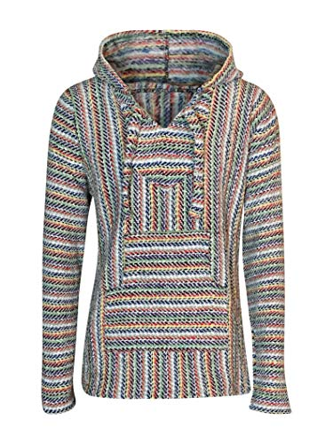 BuddhaHood Baja Eco Hoodie   Choose Color & Size   Embrace Outdoors in Warmth! (Rainbow Geode: Light Gray, Blue, Green, Red, Yellow, Purple, Tan, White, - Striped Sweater Blue Hoodie