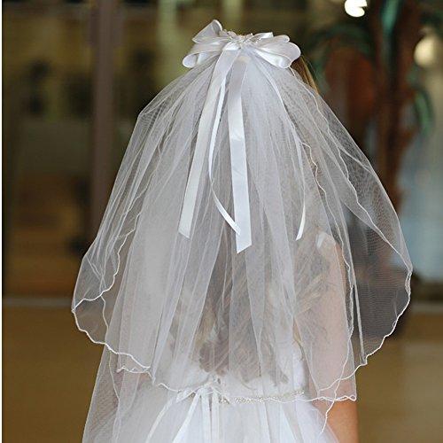 Angels Garment Women White Curl Edge Ribbon Accent Communion Wedding Veil