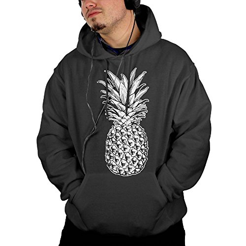 Korean National Costume For Male (Men's SKULL PINEAPPLE Pullover Drawstring Hoodie With Front Pocket X-Large)