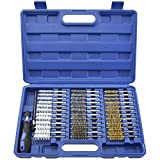 38pc Wire Brush Set | 1/4'' Hex Shank Long Extension Stainless Steel Brass Nylon