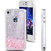 iPhone 4s Case, NSSTAR iPhone 4s Case ,Liquid Case for iPhone 4s,Case for iPhone 4s,Hard Case for iPhone 4s, Fashion Creative Design Flowing Liquid Floating Luxury Bling Glitter Sparkle Love Heart Hard Case for Apple iPhone 4s iPhone 4 (Love:Pink)