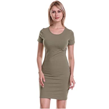 2a00cc86ce37 Soatrld Women's Summer Casual T Shirt Dresses Short Sleeve Formal Tunics  Club & Night Out Mini