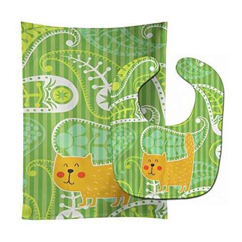 - Caroline's Treasures Baby Bib & Burp Cloth, Green Cat on Paisley, Large