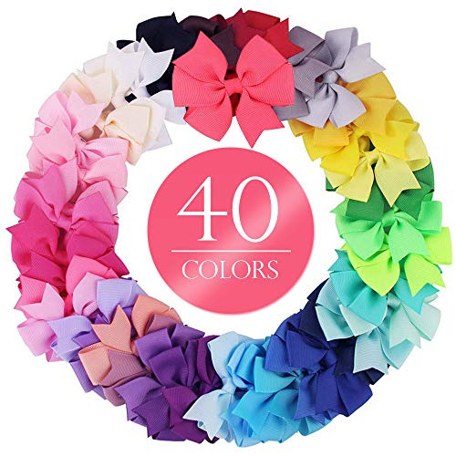 Pack of 40pcs Handmade Bow Hair Girls Alligator Clip Grosgrain Ribbon Multicolor