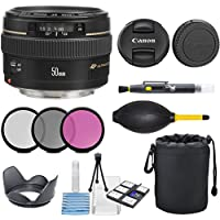 Canon EF 50mm f/1.4 USM Standard & Medium Telephoto Lens for Canon SLR Cameras - Fixed with 3pc Filter Kit (UV, CPL, FLD) + Lens Pouch + Hood + Deluxe Cleaning Kit - International Version
