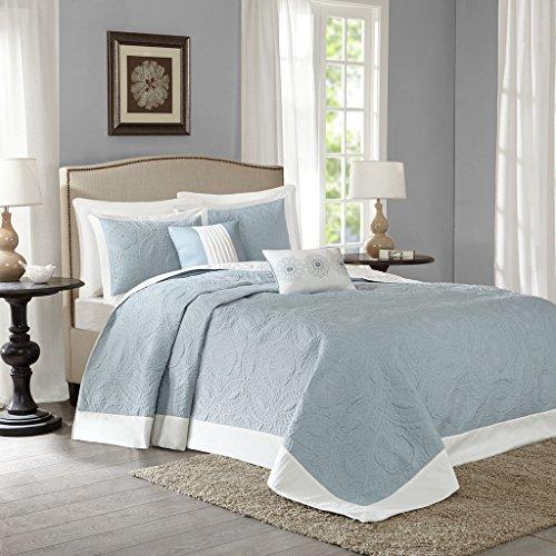 Madison Park Ashbury 5 Piece Reversible Bedspread Set, Blue, King