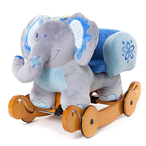 Hessie Modern Plush Rocking Horse with Soft Cute Stuffed Animal, Indoor Ride On Toys Rockers with Wheels for Toddlers Kids Little Boys & Girls (6-36 Months) - Padded Blue Elephant with Sound Paper