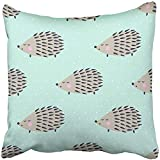Throw Pillow Cover Square 18x18 Inches Green Forest Hedgehog on Polka Dots Cute Cartoon Animal Child Drawing Style Eyes Little Boy Urchin Polyester Decor Hidden Zipper Print On Pillowcases