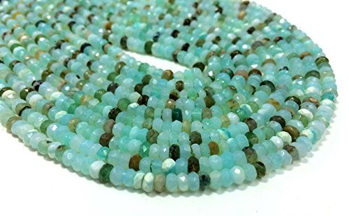 AAA QUALITY PERUVIAN OPAL FACETED RONDELLE LOOSE GEMSTONE BEADS 3mm-4mm SIZE WHOLESALE LOT PRICE OPAL STONE NECKLACE