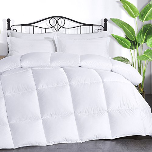 "Brermer Soft Queen Goose Down Alternative Comforter, All Seasons Puffy Warm Duvet Insert with 8 Corner Tabs, Luxury Reversible Hotel Collection, 88""x 88"", White"