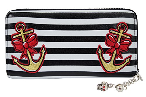 Banned Pinup Nautical Sailor Anchor & Bow Embroidered Striped Zip Around Wallet (Pin Up Dolls Tattoos)