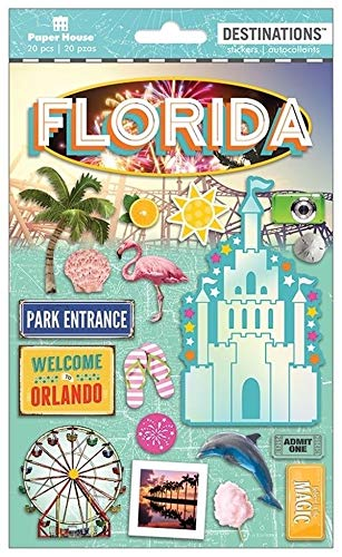 Sticker Scrapbooking Crafts 2D Florida Magic Disney Castle Orlando Flamingo Sun