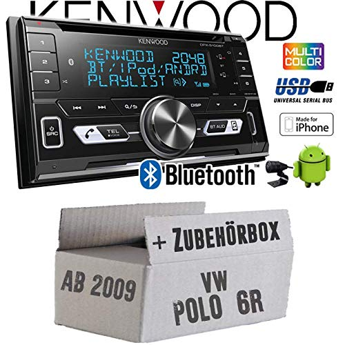 JUST SOUND best choice for caraudio Einbauzubeh/ör 2-DIN Bluetooth USB Apple Android Autoradio PKW KFZ Paket Einbauset f/ür VW Polo 6R Autoradio Radio Kenwood DPX-5100BT