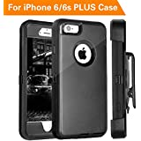 FOGEEK iPhone 6S Plus Case, PC TPU Combo Protective Case Heavy Duty Protective for iPhone 6 Plus & iPhone 6S Plus w/360 Degree Rotary Belt Clip & Kickstand 5.5 inch(Black)