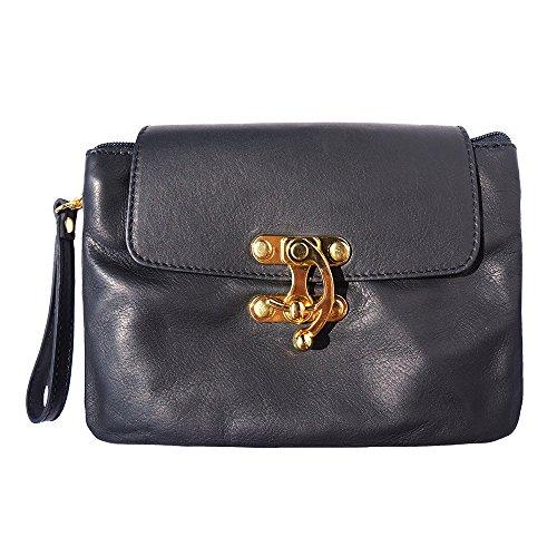 Leather En Véritable Cuir 9601 Noir Florence Market Pochette doreCxB