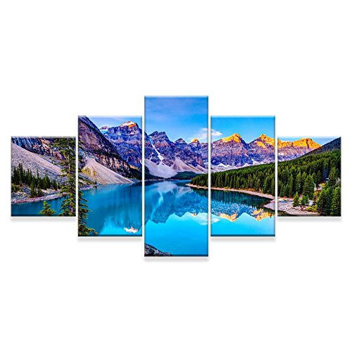 [Small] Premium Quality Canvas Printed Wall Art Poster 5 Pieces/5 Pannel Wall Decor Moraine Lake And Mountain Range Sunset Canadian Rocky Mountains, Home Decor Pictures - Stretched (Mountain Furniture Rocky)