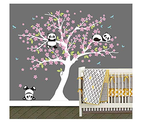 LUCKKYY Three Playful Pandas Bear on Cherry Blossom Tree Wall Decal Tree Wall Sticker Nursery and Children's Room (White+Pink)