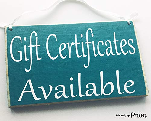 8x6 Gift Certificates Available Custom Wood Sign Store Shop Sign Spa Salon Office Coupon Door Plaque for $<!--$18.95-->