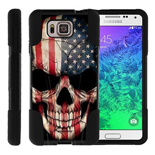 TurtleArmor | Samsung Galaxy Alpha Case | G850 [Gel Max] Hybrid Dual Layer Hard Shell Kickstand Silicone Case - US Flag Skull