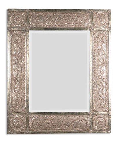 Intelligent Design Ornate Embossed Metal Oversize Wall Mirror | Silver Champagne