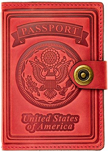 - Villini - Leather RFID Blocking US Passport Holder Cover ID Card Wallet - Travel Case (Red Vintage)