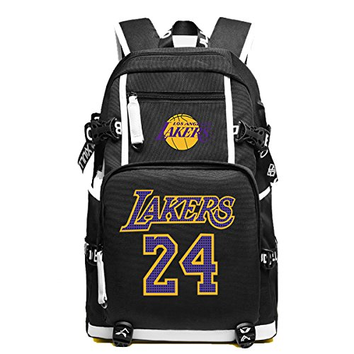 YOURNELO Basketball Player Rucksack School Backpack Bookbag (C Lakers Black)