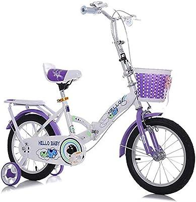 YWZQ Bicicleta para niños, Marco Plegable Alto Acero Carbono Neumáticos Antideslizantes Resistentes al Desgaste Frenos Dobles Seguros y sensibles Bicicleta Ajustable para niños Regalos,Púrpura,18: Amazon.es: Hogar