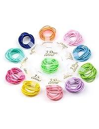 Bysn 100pcs 1.8mm Mix Colors Baby Elastic Hair Ties Bands Holders Headband