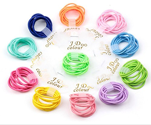 Baby Elastic (Bysn 100pcs 1.8mm Mix Colors Baby Elastic Hair Ties Bands Holders Headband)