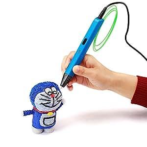 NEXGADGET 3D Pluma Inteligente Pen Bolígrafo de Impresión Estereoscópica con Soporte de Seguridad para Crear y Modelar Figuras 3D Compatible con PLA / ABS Filamento + 3 Filamentos Gratuitos ( Azul )