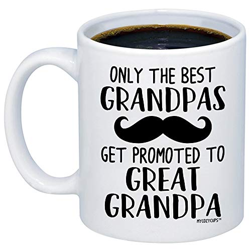 MyCozyCups Baby Reveal Gift For Grandpa - Only The Best Grandpa Get Promoted To Great Grandpa Coffee Mug - Cute 11oz Cup For New Mom Pregnancy Surprise Announcement, Baby Shower Party For Grandfathers