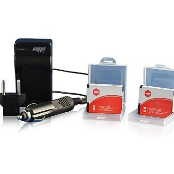 MP EXTRA Pack - Juego de 2 baterías y cargador para GoPro Hero 2 (Li-ion, 1100 mAh, AHDBT-001)