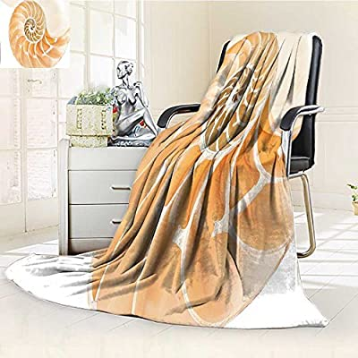YOYI-HOME Original Luxury Duplex Printed Blanket, Hypoallergenic,Shell Showing The Chambers in Distance Curves Helix Hidden Print Cream Perfect for Couch or Bed