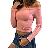 Gobought Womens Slim Off Shoulder Long Sleeve Rib-Knit Crop Pullover Tops (Large, Pink)
