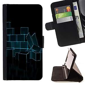 BullDog Case - FOR/LG OPTIMUS L90 / - / Abstract Neon Blue Bricks /- Monedero de cuero de la PU Llevar cubierta de la caja con el ID Credit Card Slots Flip funda de cuer