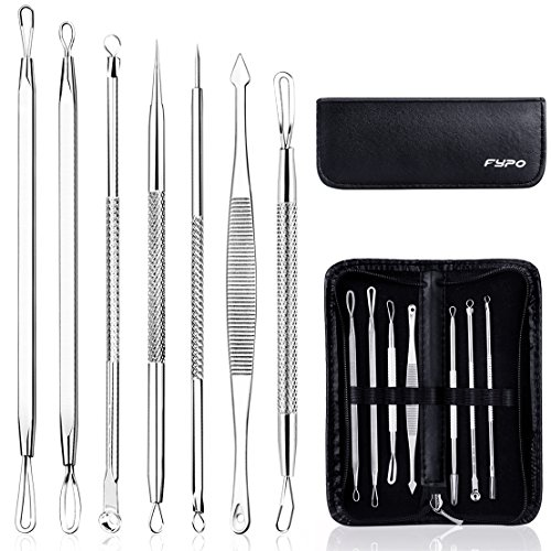 Blackhead Remover Kit, Fypo Extractor Removal Set 7 Pcs Professional Stainless Steel Pimple Popper Tool Treatment for Whitehead Blemish Acne Comedone Pimple Popping