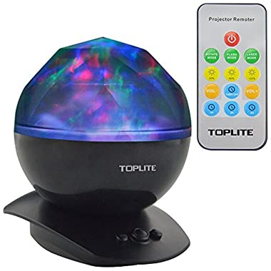Toplite Kids Baby LED Night Light Projector with Remote, Black