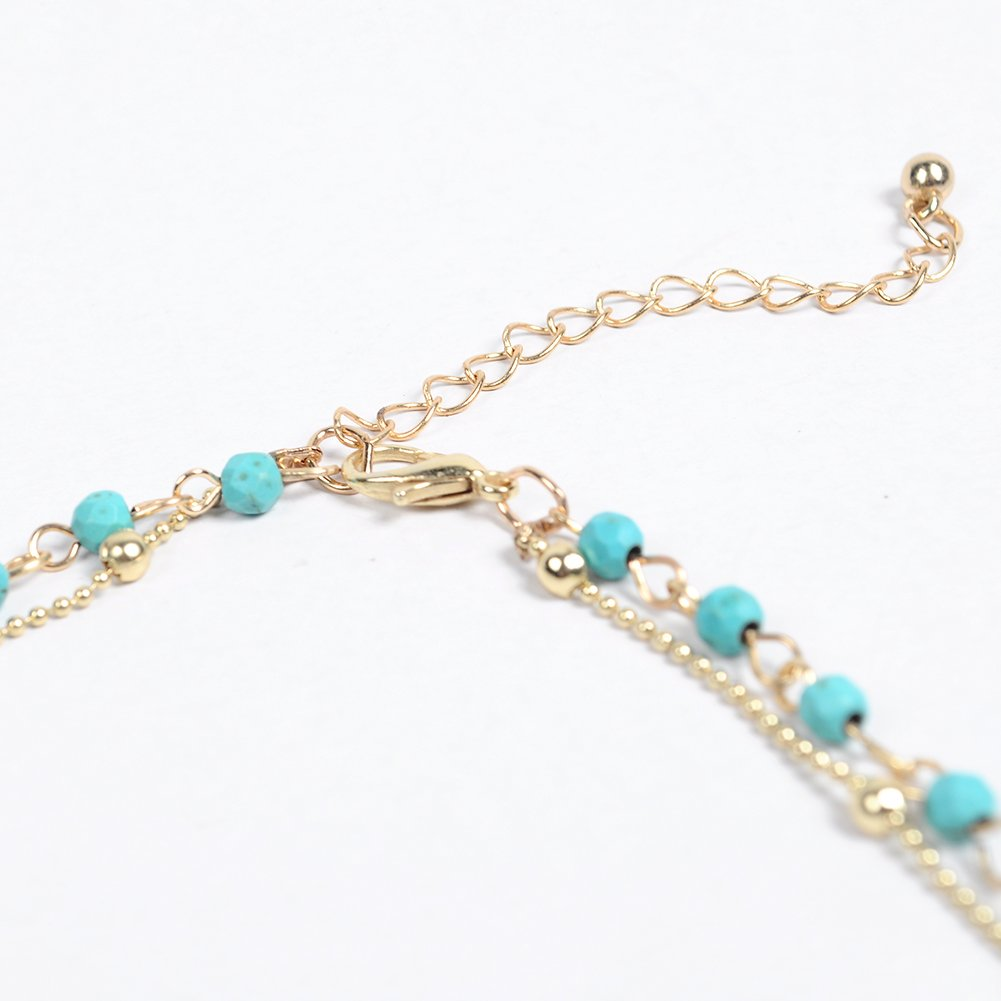 Artilady layer opal choker necklace for women ¡­ (GOLD TURQUOISE) by Artilady (Image #5)