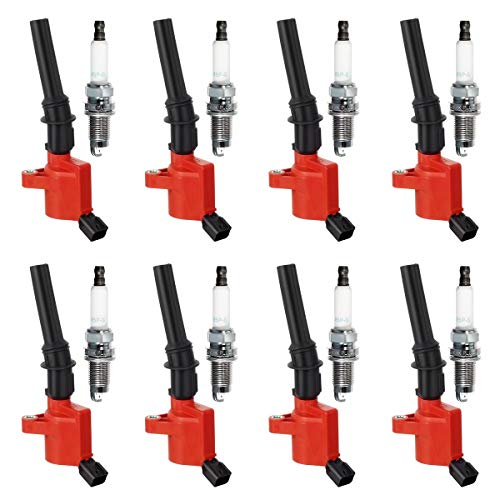 QYL Ignition Coil DG508 & Spark Plug SP493 7740 Replacement for Mercury Grand Marquis Mountaineer F-150 Explorer Expedition Mustang Crown Victoria Lincoln Town Car 5.4L 4.6L V8 (Set of 8 Red)