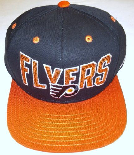 NHL Reebok Philadelphia Flyers Black-Orange Two-Tone Striped Snapback Adjustable Hat