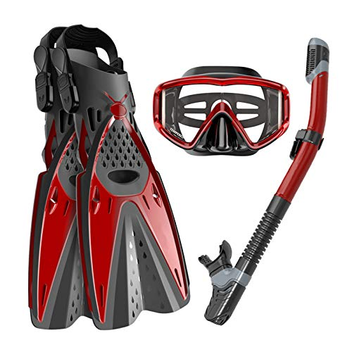 Ertong Scuba Diving Gear Swimming Combo Set Waterproof and Anti-Fog Snorkel Mask+Adjustable Freediving Swimming Fins/Flippers+ Breathing Tube for Adults and Kids