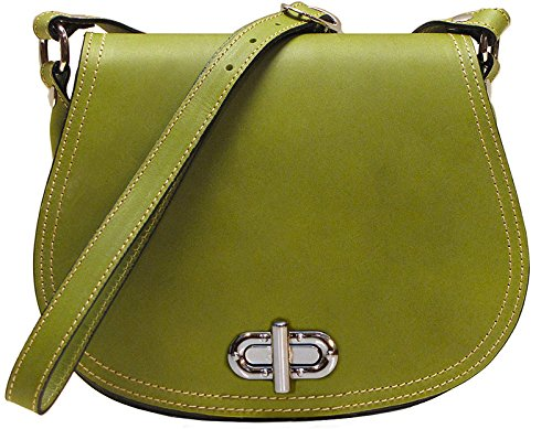 Floto Women's Saddle Bag in Green Italian Calfskin Leather - handbag shoulder bag by Floto