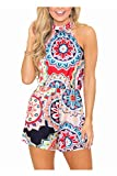 Women's Sleeveless Floral Summer Halter Romper Casual Short Jumpsuit Rompers (XL, Blue)