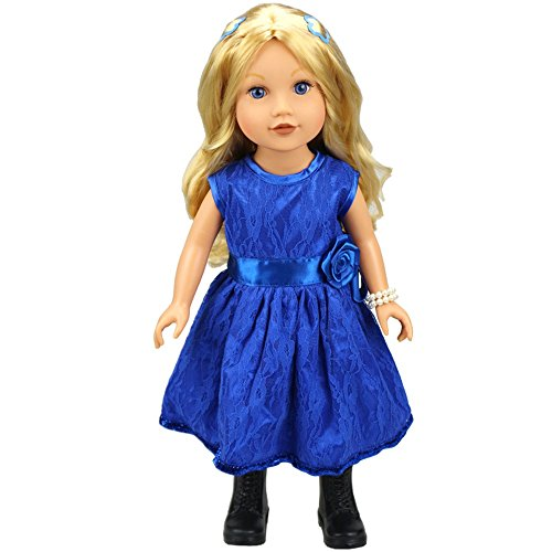 (AMOFINY New Elegant Satin Organza Full Dress Evening Gown Girl Doll For 18 Inch)